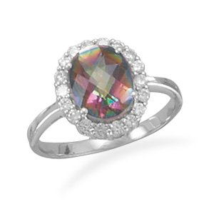 Rhodium Plated Oval Mystic Topaz® Ring