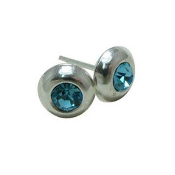 Sterling Silver 8 MM Round Aquamarine Bezel Set Crytsal Stud Earrings