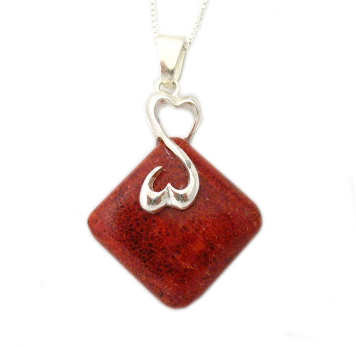 Sterling Silver Dual Heart Coral Pendant