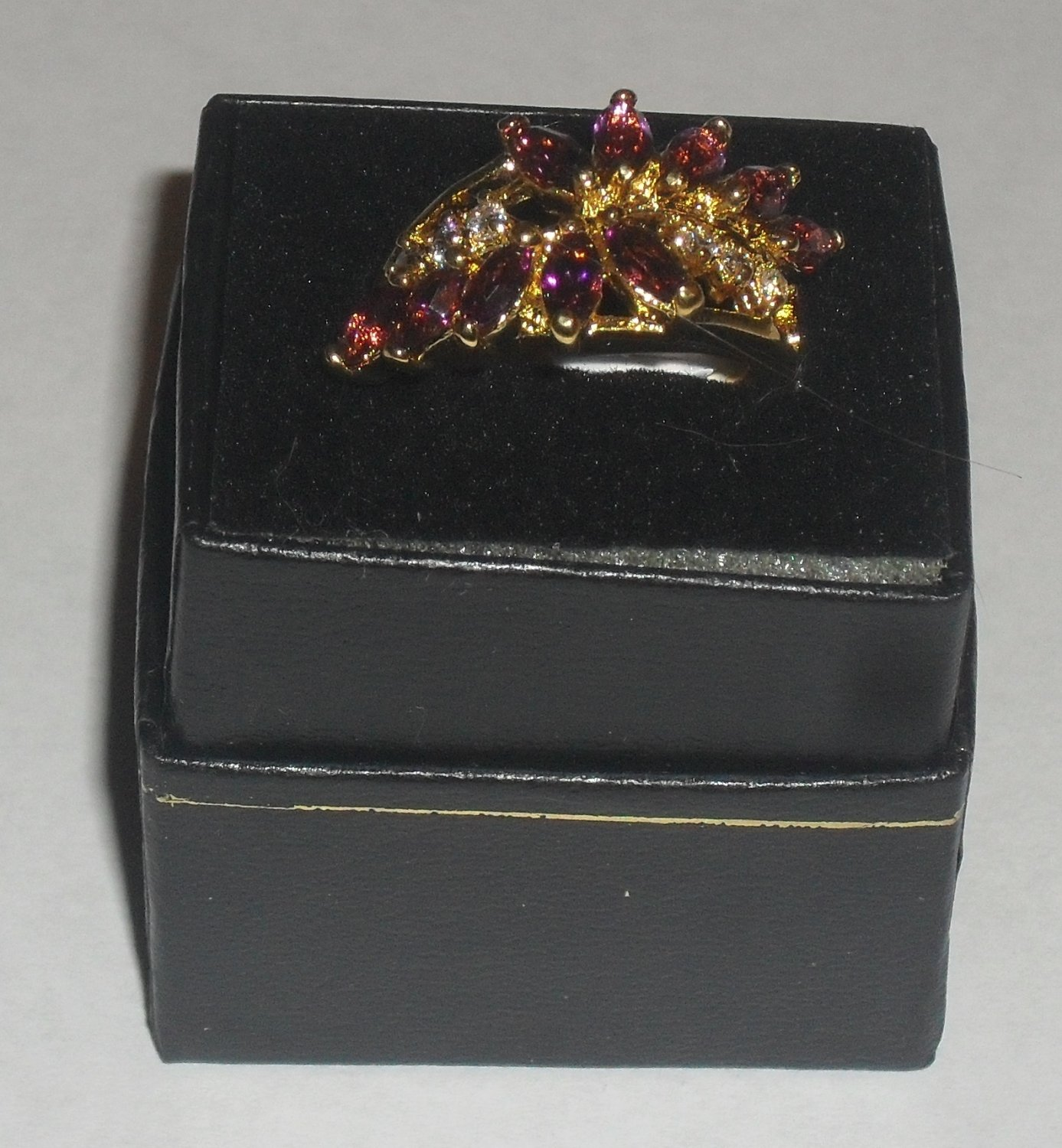 Amethyst & CZ Diamond Ring ~ Size 9