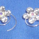 *SALE* Pair of Clear Crystal Flower Fashion Hair Spins