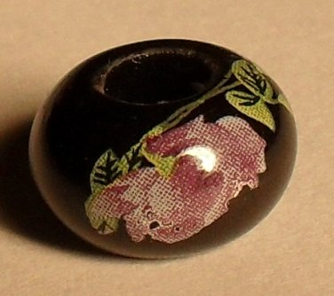 Black/Rose Story Bead