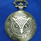 Owl Pocket Watch Necklace Goldtone #eJ407ag