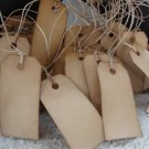 "25 Coffee Stained Hang Tags, sized 2 3/4"" x 1 3/8"", Vintage Tags, Primitive Tags, Antique Tags"