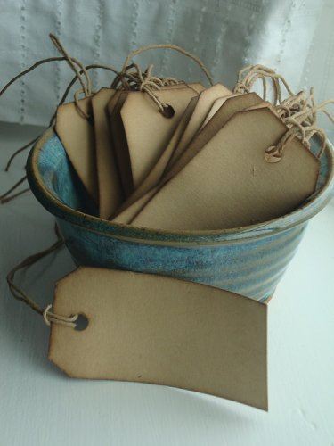"25 Coffee Stained Hang Tags, sized 3 1/4""x1 5/8"", Distressed Tags, Vintage Tags, Primitive Tags"