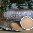 """25 Coffee Stained Metal Rim Hang Tags, sized 2 1/4"""""""