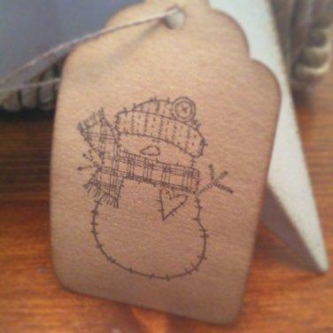 Raggedy Snowman Christmas Gift Tags