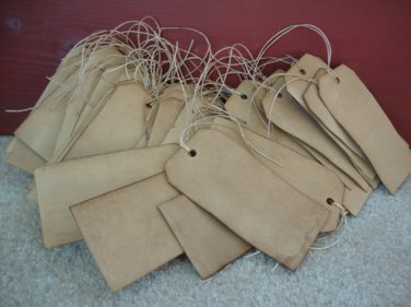 50 Coffee Stained Hang Tags, Primitive Tags, Antique Tags, Vintage Tags