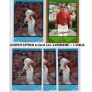 Justin Upton 2007 5 Card RC Lot (4) Bowman Chrome Draft Prospects RC #BDPP110 Braves
