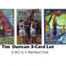 Tim Duncan 3 Card Lot RC Refractor Spurs