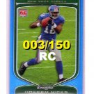 Hakeem Nicks  Giants 2009 Bowman Chrome Blue Refractors RC #124 Giants #003/150