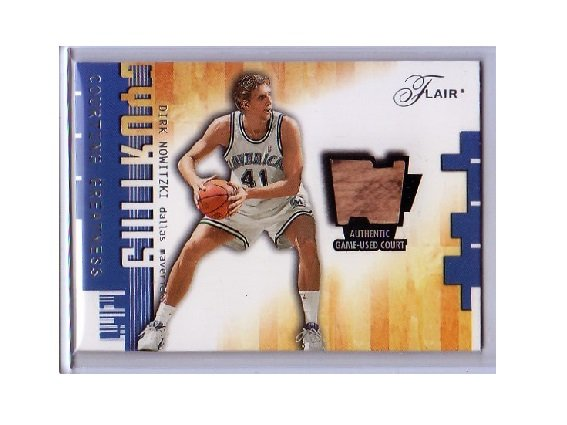 Dirk Nowitzki 2001-02 Flair Courting Greatness Game-used Court #DN Mavericks