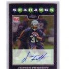 Justin Forsett 2008 Topps Chrome Autographed RC #TC197 Seahawks, Ravens