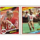 Joe Montana 1984 Topps #358 and #359 RB San Francisco 49ers