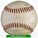 Joe DiMaggio 1969 Oakland A's Team Signed Autographed Baseball (25) Reggie, Hunter, Fingers