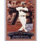 Barry Bonds 2002 Topps Race to 73 Opening Day #73 Giants Pirates