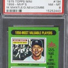 Mickey Mantle Don Newcombe 1975 Topps Mini #194 MVP PSA 8 NM-MT Yankees Dodgers