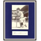 Heinie Manush Certified Autographed Matted Display HOF PSA/DNA Full Authentication Letter LOA