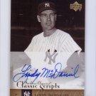 Lindy McDaniel 2004 Upper Deck Yankees Classics Classic Scripts #AU-43 Autographed