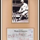 George L. Kelly Signed Check Matted Photo Display HOF NY Giants Autographed