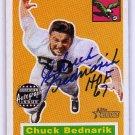 Chuck Bednarik HOF Auto 2001 Topps Archives Rookie Reprint Autographs #AACBE Eagles, HOF