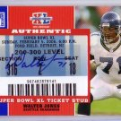 Walter Johnson Auto HOF 2007 Topps TX Exclusive Super Bowl Ticket Stubs Autographs #SB-WJ Seahawks