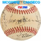 1987 Oakland A's Team Signed Baseball (24) McGwire Canseco Jackson LaRussa Athletics