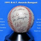 Joe Garagiola, Doby, Gibson HOF Signed Autographed World Series Ball 1991 B.A.T. Awards Dinner