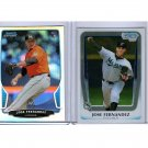 Jose Fernandez lot of (2) cards. 2013 Bowman Chrome RC Refractor & 2011 Marlins