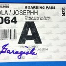 Joe Garagiola Auto Signed Boarding Pass Cardinals HOF  w/coa