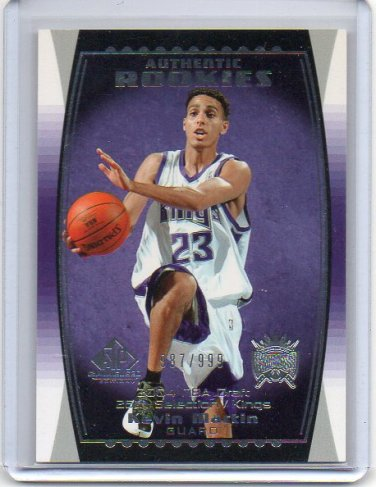 Kevin Martin RC 2004-05 SP Game Used #121 Sacremento Kings #/999 Rookie