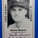 Monte Weaver Signed 1979 Wallin Diamond Greats #70 Authentic Autograph Boston Red Sox, Senators