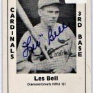 Les Bell Signed 1979 Wallin Diamond Greats #151 Authentic Autograph Cardinals, Braves, Cubs
