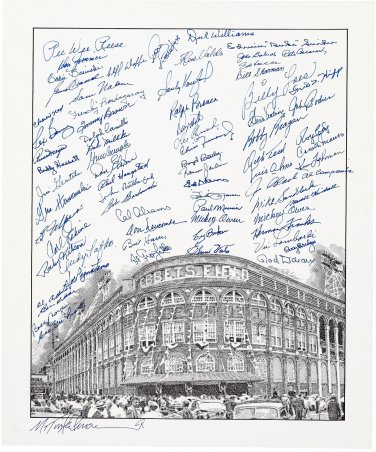 "Brooklyn Dodgers (72) Signed 16""x20"" Ebbets Field Print Koufax, Reese, Snider, Sharman HOF Autograph"