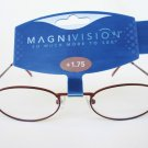 Unisex Reading Glasses for Men and Women Clear Lens and Burgundy Metal Frame