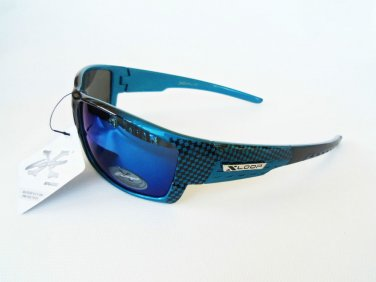 Mens Sporty Outdoor Beach Sunglasses and Shades With Blue, Mirror, Black Lens