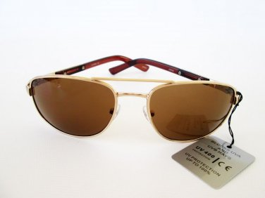 Low Cost Men's Brown Aviator Sunglasses With Brown Lens and Gold Metal Frames