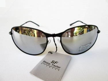 Black Oval Aviator Men's Sunglasses With Mirror Lens and Black Metal Frames