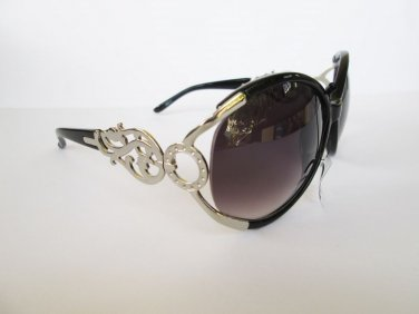 Women's Brand New Stylish Sunglasses With Brown Black Lens and Metal Frames