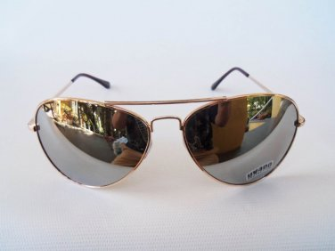 Mens Aviator Sporty Sunglasses with Mirror Lens and Gold Frames Outdoor Glasses