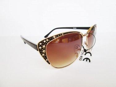 Retro Vintage High Fashion Cat Eye Brown Sunglasses With Rhinestones For Women