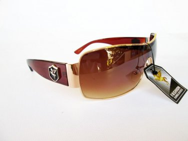 Designer Inspired Brand New Style Men's Brown Shield Sunglasses and Shades
