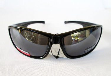 Mens Sporty Sunglasses Shades With Shatter Resistant Polycarbonate Black Lens