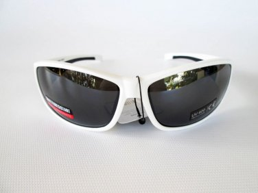 Unisex, Outdoor, Sporty Sunglasses With White Frames, Black Lens For Men, Women