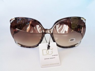 Women's High Fashion Sunglasses with Brown Lens and Polka Dot Frames.