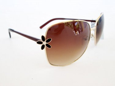 Black and Brown High Fashion Women's Sunglasses and Shades With Flower Designs