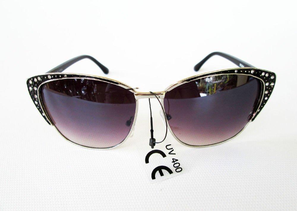 Very Popular Vintage Retro Cat Eye Women Sunglasses, Metal Frames & Rhinestones