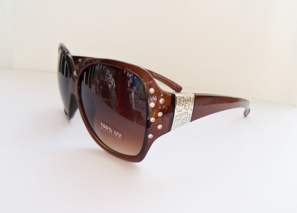 New Style Fashion Women's Sunglasses With Rhinestones and Brown Oval Lens
