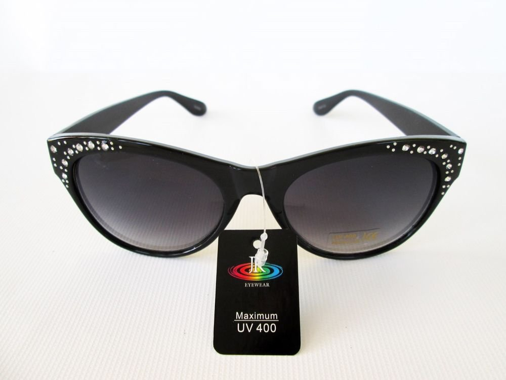 New Good Black Cat Eye Women's Sunglasses With Rhinestones For Everyday Use