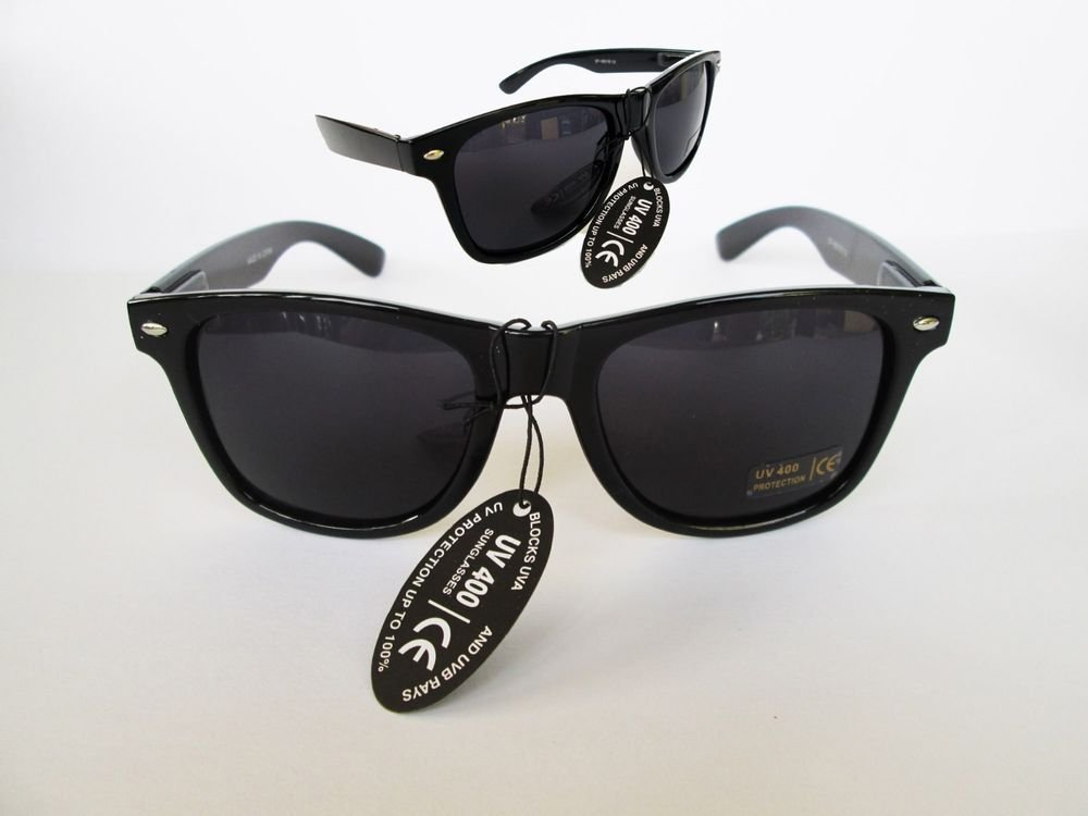 Black Retro 80s Wayfarer Gloss Sunglasses Dark, Black Lenses and Black Frames